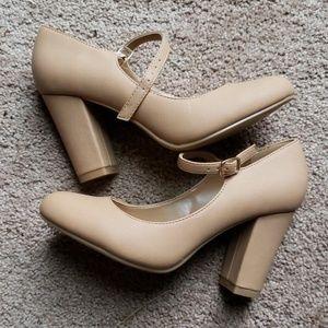 Cream colored block heel